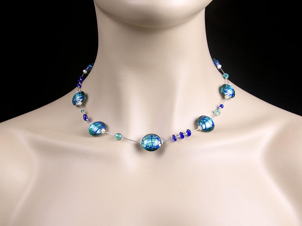Water Whirlpool Necklace - Vibrant blue Murano glass necklace