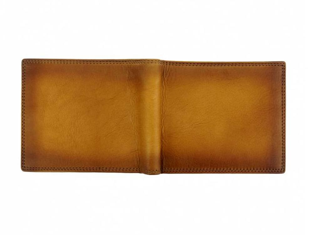 Davide - luxury vintage leather wallet - opened up, outside view