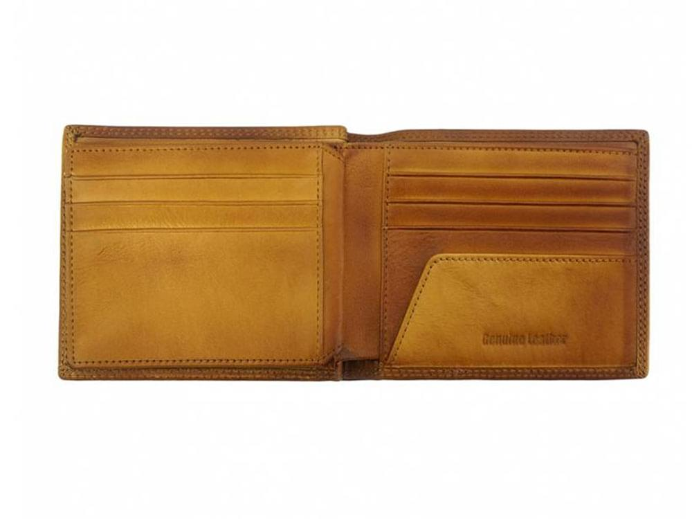 Davide - luxury vintage leather wallet - showing back compartments