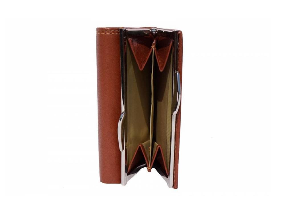 Elena - tri-fold, feminine leather wallet - the coin compartment
