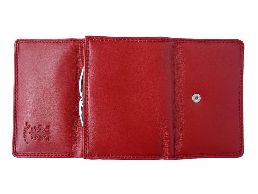 Elena - tri-fold, feminine leather wallet - opened up, outside view