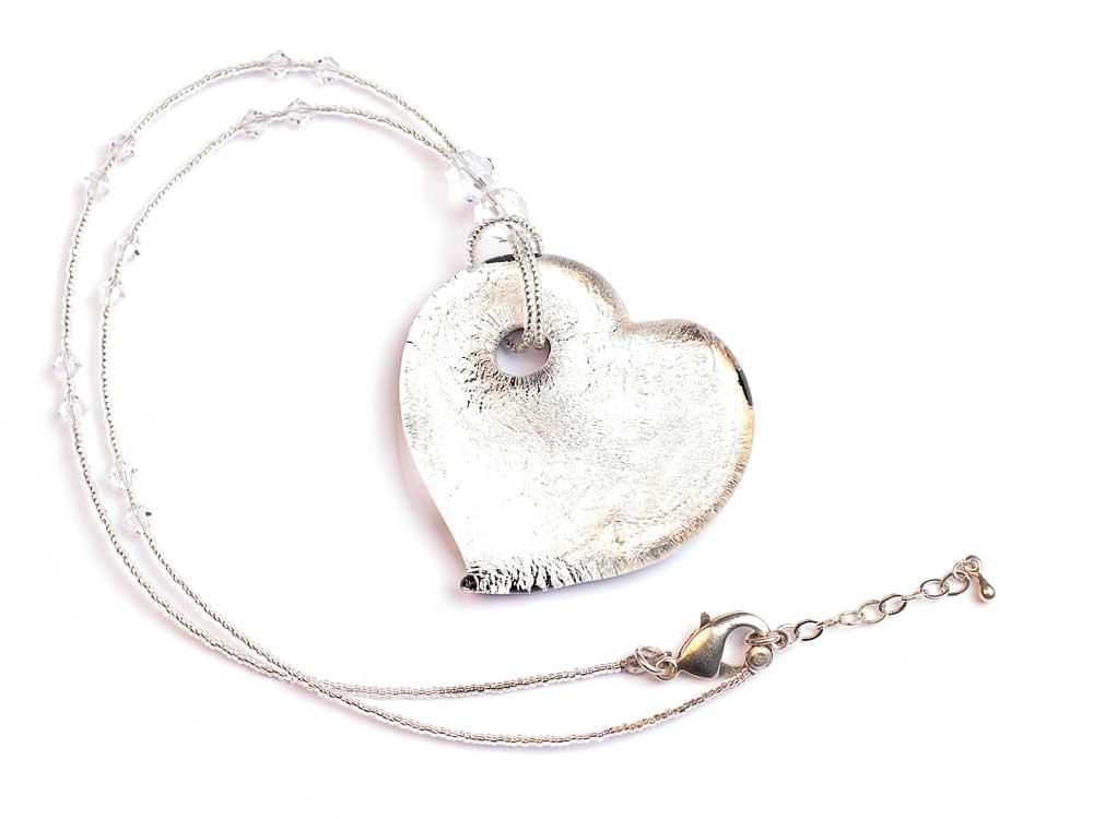 Glaciale - large, heart shaped Murano Glass pendant