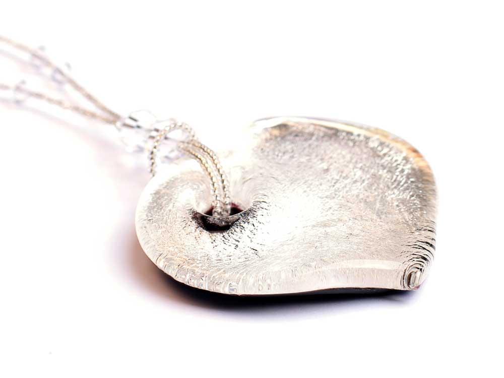 Glaciale - large, heart shaped Murano Glass pendant - showing the thickness of the heart