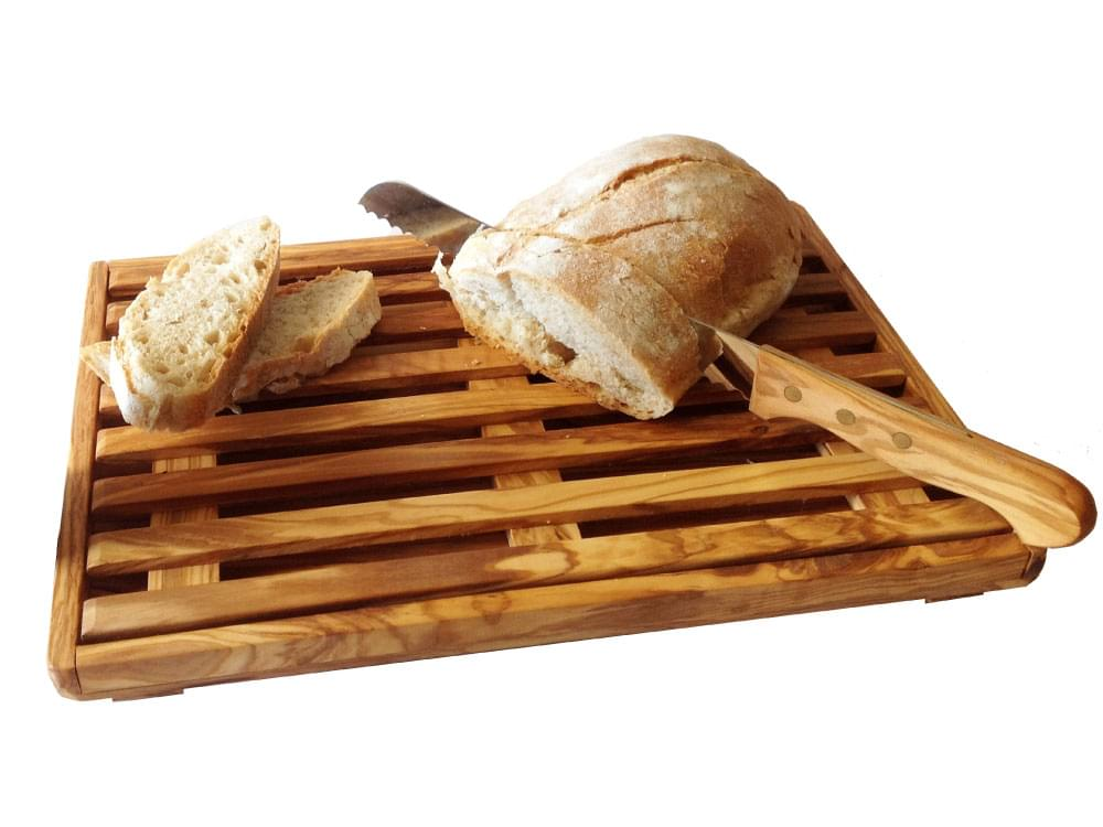 Olive wood board for slicing bread