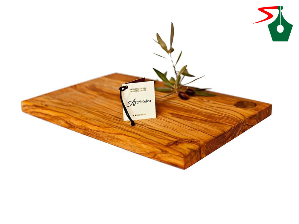 Olive wood rectangular cutting board, large