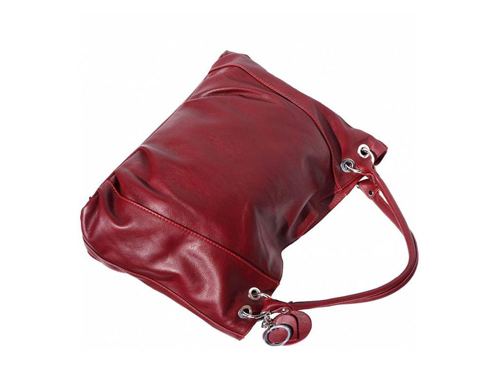 Cremona (bordeaux) - soft, calf leather hobo style bag - back view