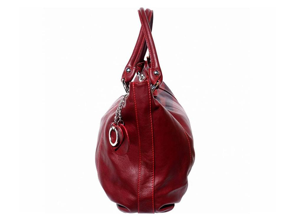 Cremona (bordeaux) - soft, calf leather hobo style bag - side view