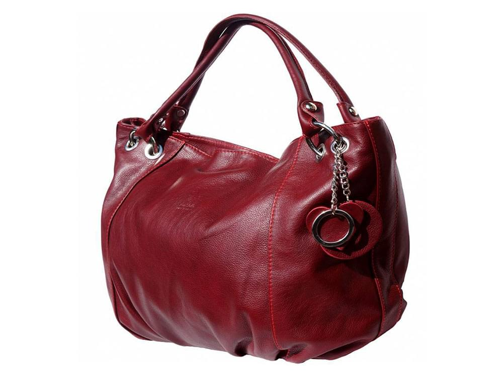 Cremona (bordeaux) - soft, calf leather hobo style bag