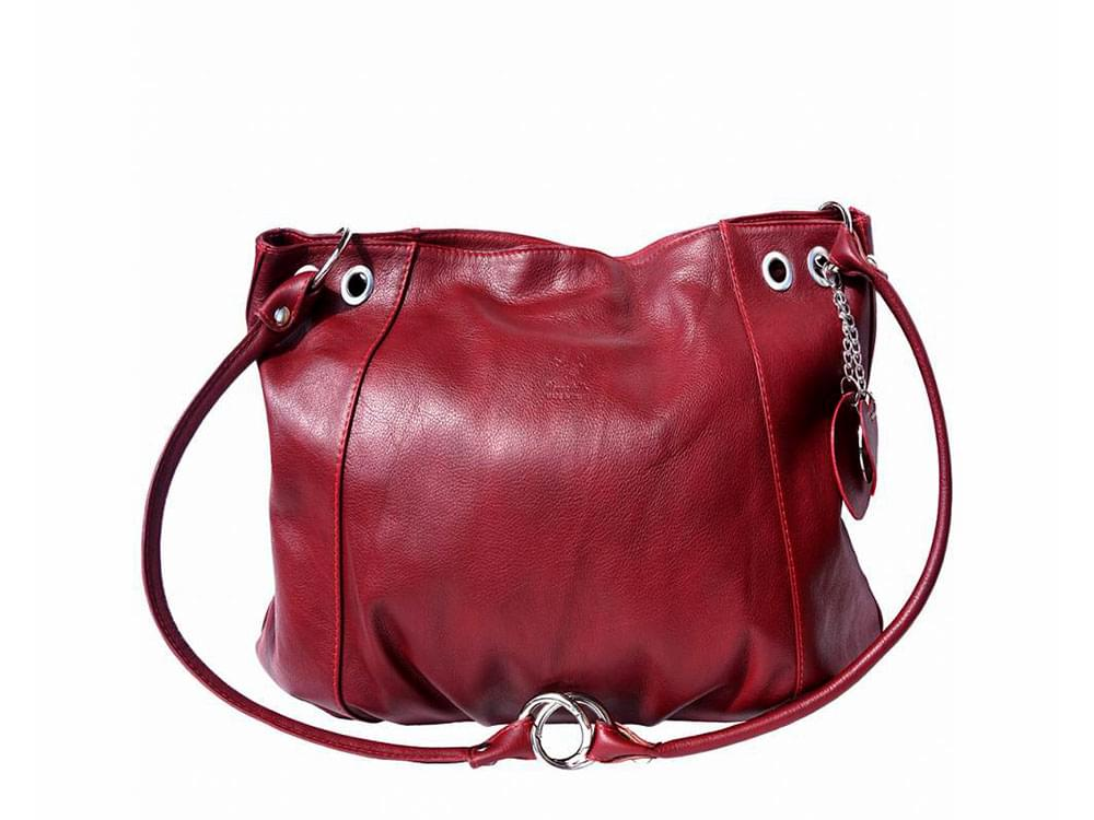 Cremona (bordeaux) - soft, calf leather hobo style bag - with the straps in the shoulder bag configuration