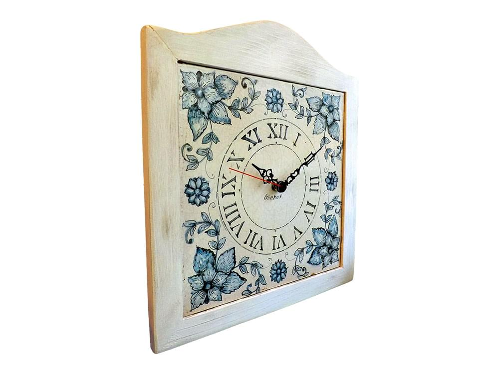 Blue Flower Clock - Ceramic and Wooden clock from Sicily - side view