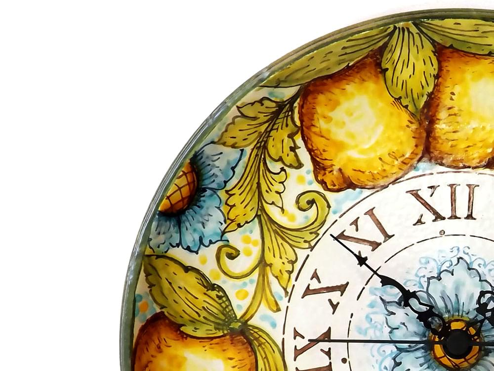 Lemon Plate Clock - ceramic plate wall clock from Sicily - showing detail of the decoration