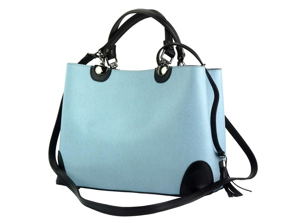 Oristano (pale blue) - New design, luxury leather bag - with the detachable shoulder strap