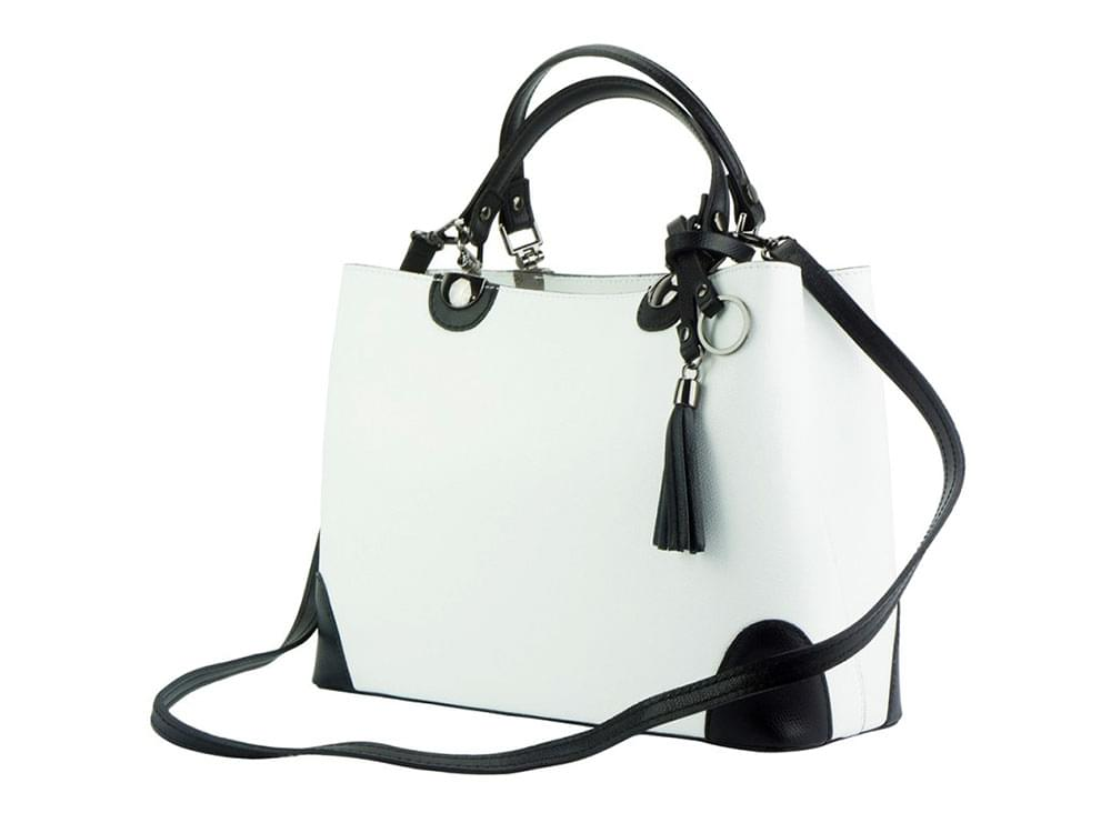 Oristano (white) - modern, luxury leather bag - with the detachable shoulder strap
