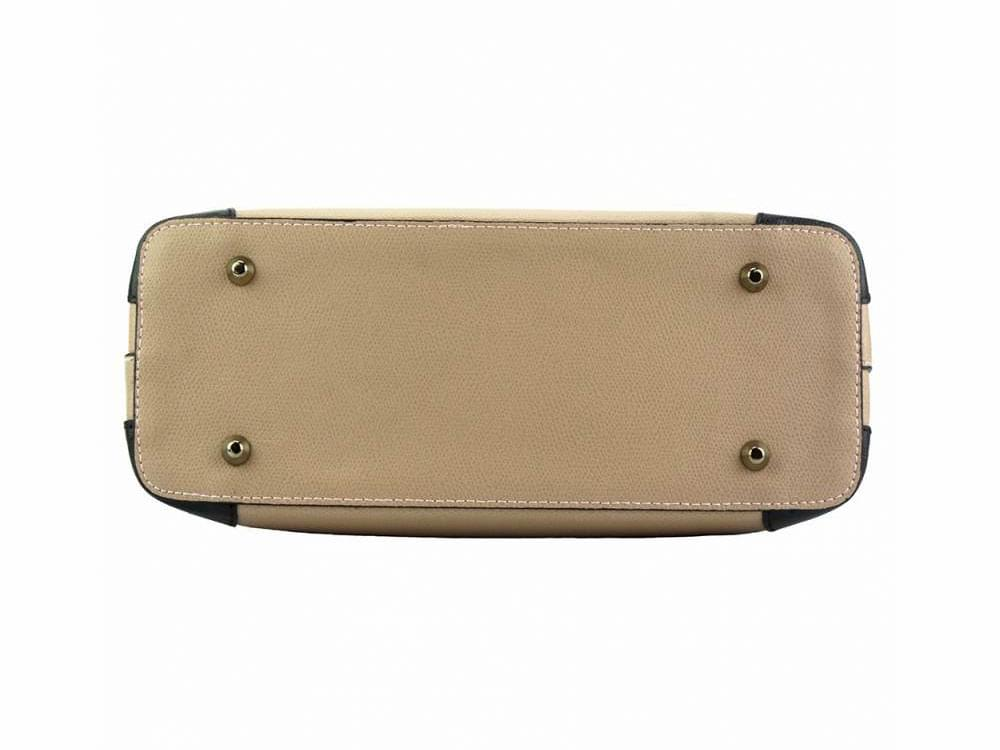 Oristano (light taupe) - modern, luxury leather bag - showing the base
