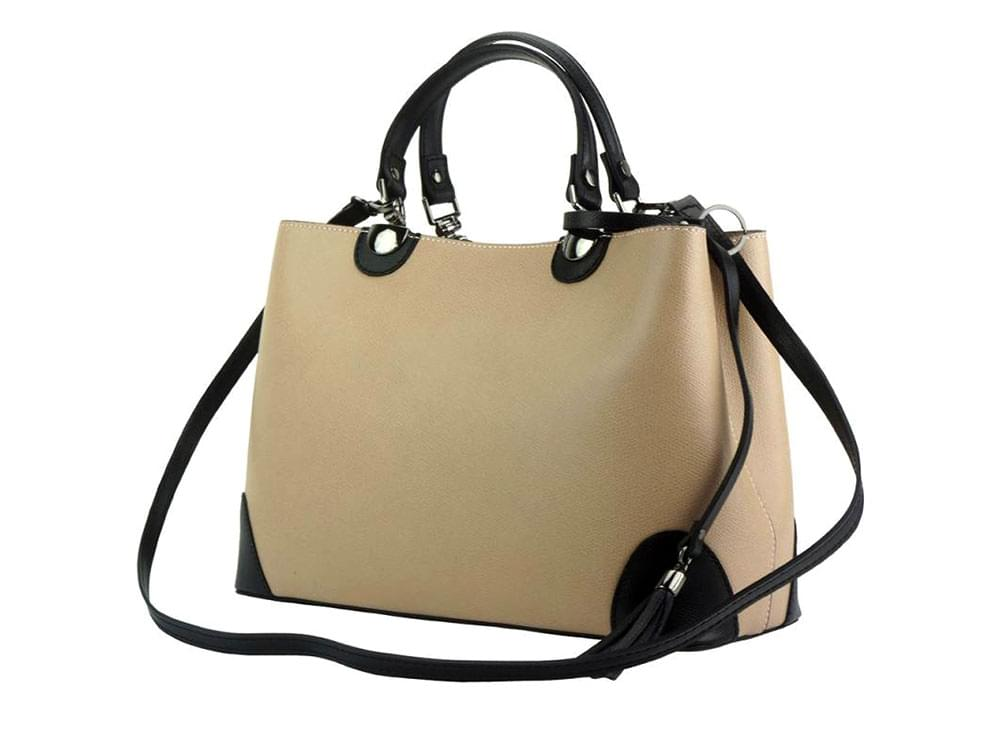 Oristano (light taupe) - modern, luxury leather bag - with the detachable shoulder strap