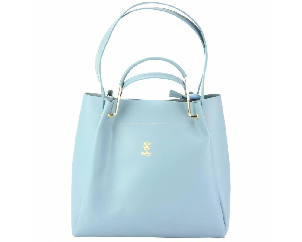 Savona (pale blue) - smooth, waxed leather handbag