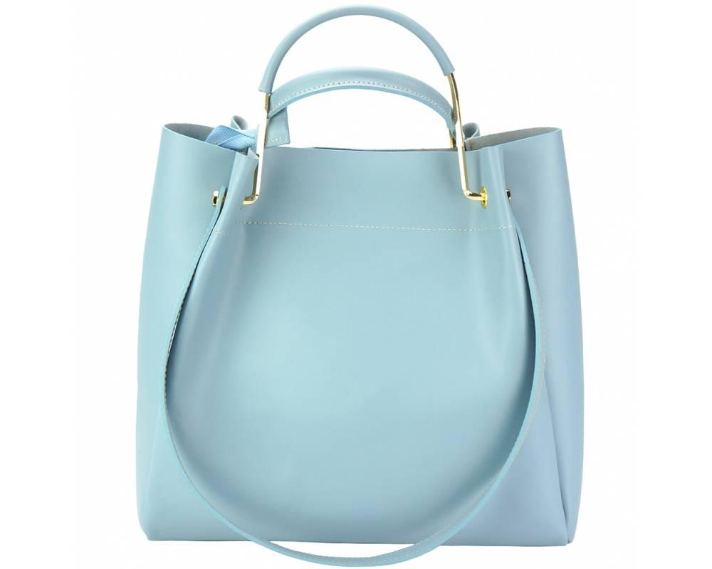 Savona (pale blue) - smooth, waxed leather handbag - back view