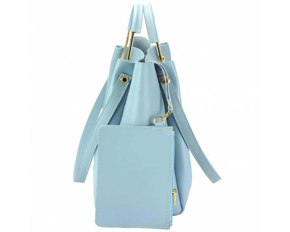Savona (pale blue) - smooth, waxed leather handbag - side view