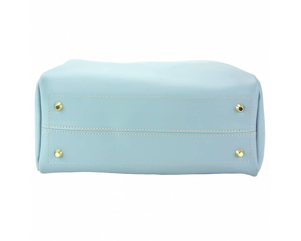 Savona (pale blue) - smooth, waxed leather handbag - showing the base