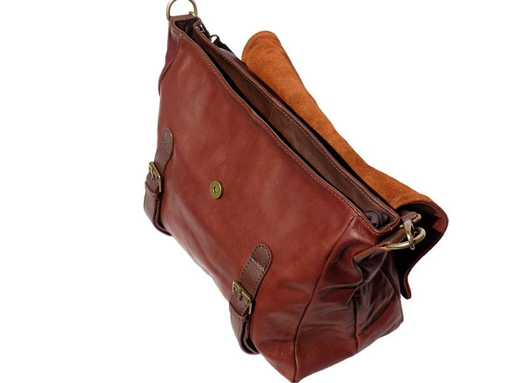 Elba - soft leather satchel style bag - showing the flap open