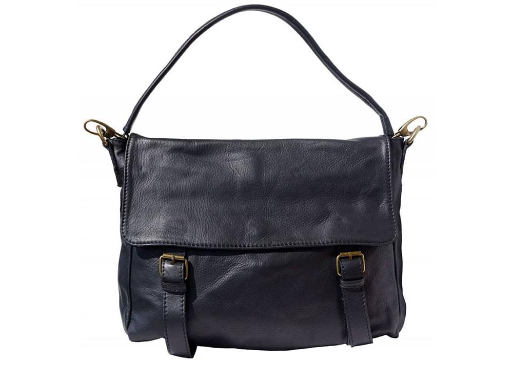 Elba - soft leather satchel style bag - front view