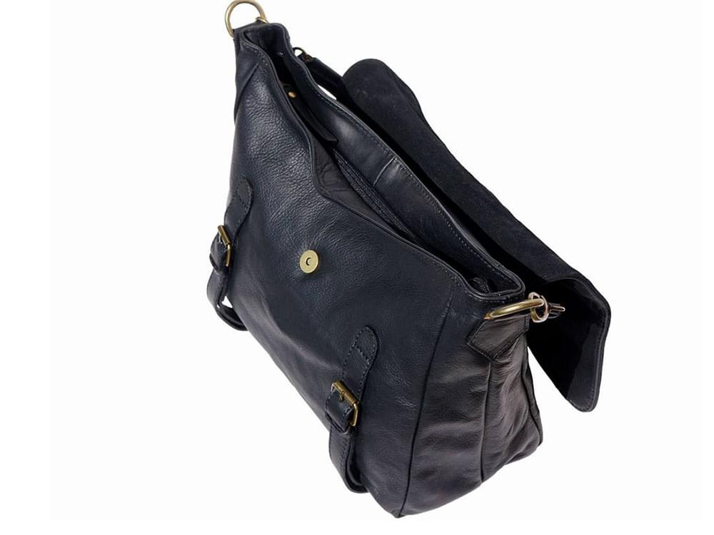 Elba - soft leather satchel style bag - with the top flap open