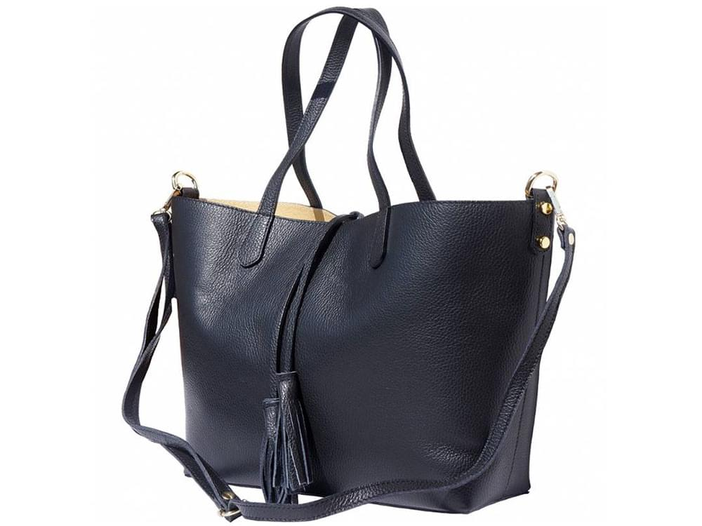Vernazza - soft, grainy leather tote bag - with the long, detachable shoulder strap