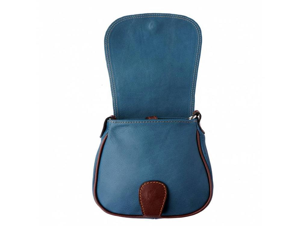 Lodi - soft leather cross body bag with long strap - with the flap open