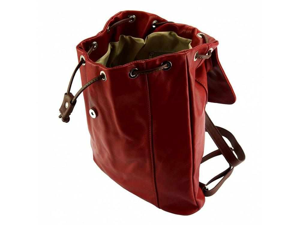 Lucca - one of the best leather backpacks on the market - showing inside