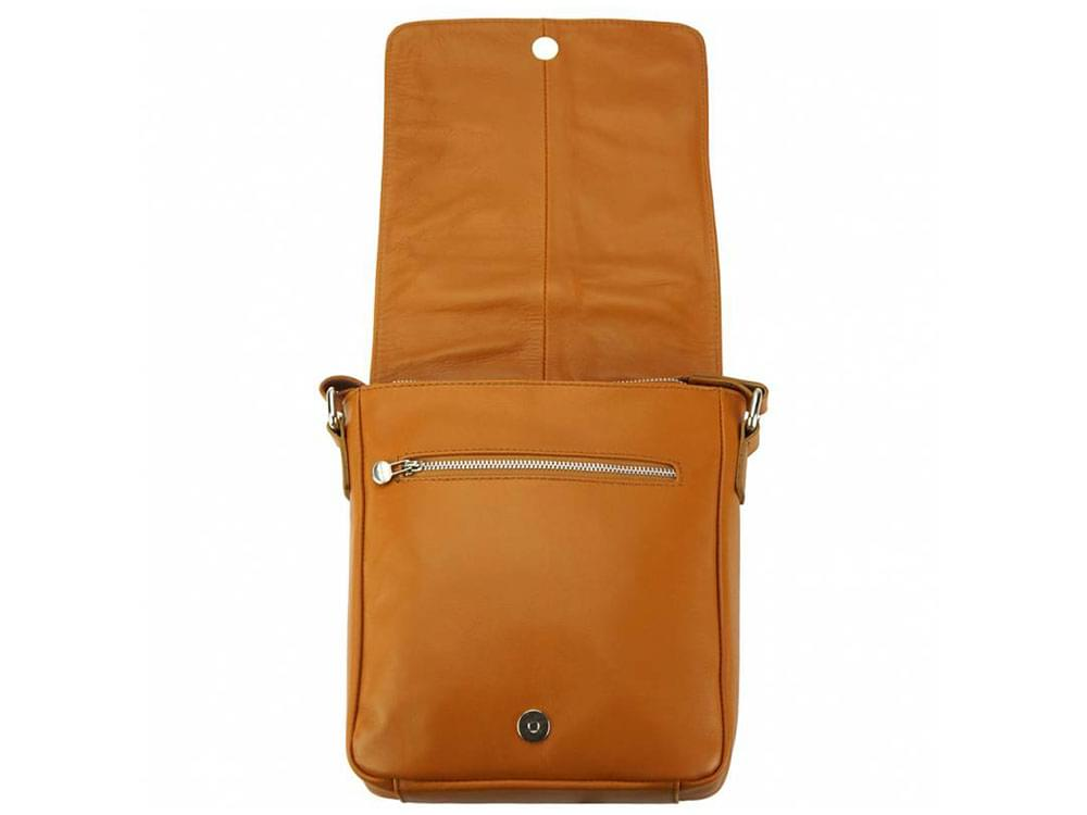 Forli - smooth leather messenger bag - showing under the flap
