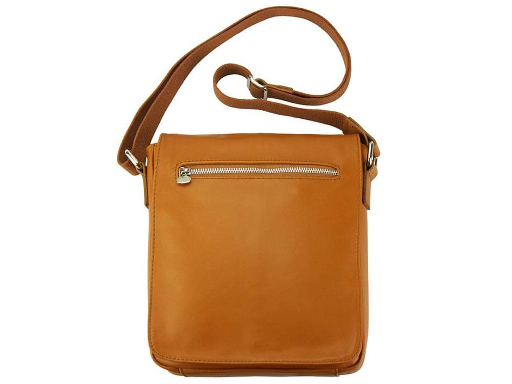 Forli - smooth leather messenger bag - showing back view and strap