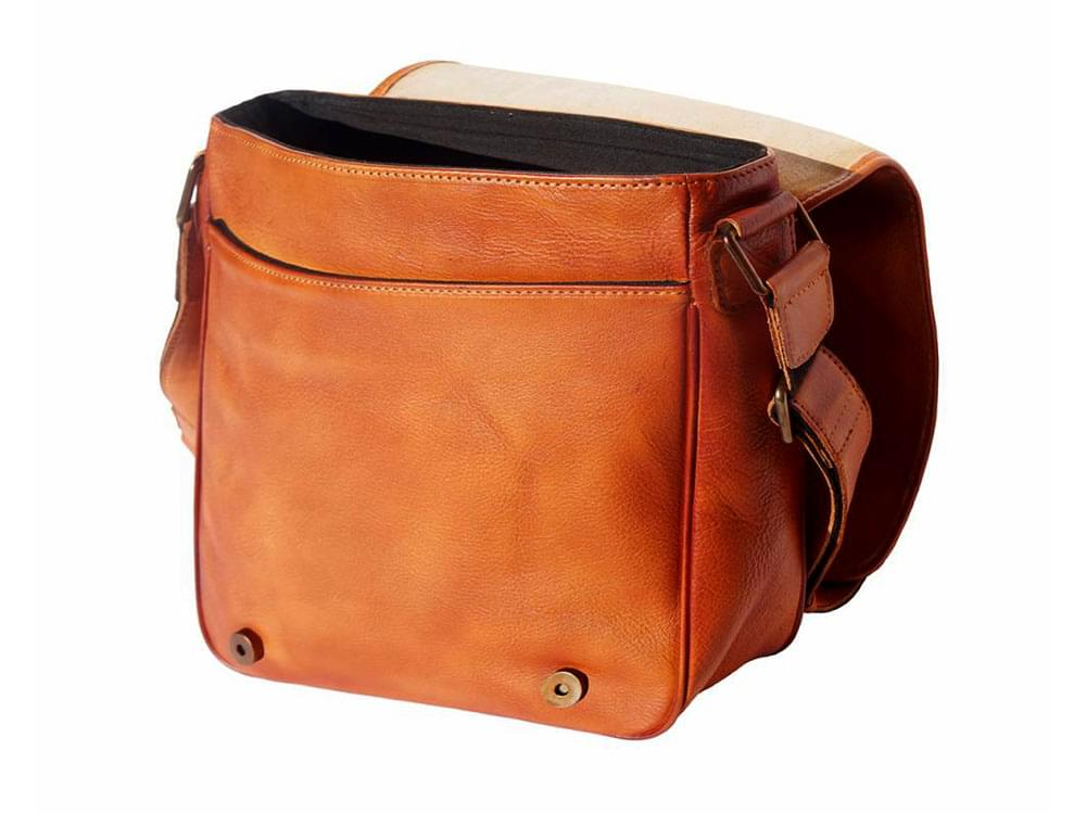 San Remo - vintage leather messenger bag - with the flap open