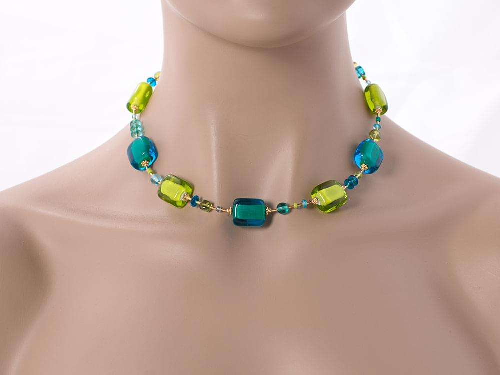 Acquerello - necklace of blue and green Murano glass squares
