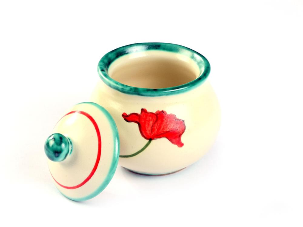 Poppy Espresso Set - sugar bowl with lid off