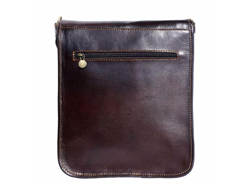Corato - medium sized leather messenger bag - back view