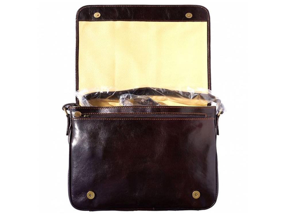 Imola messenger bag - a very sturdy Italian leather bag - with the flap lifted