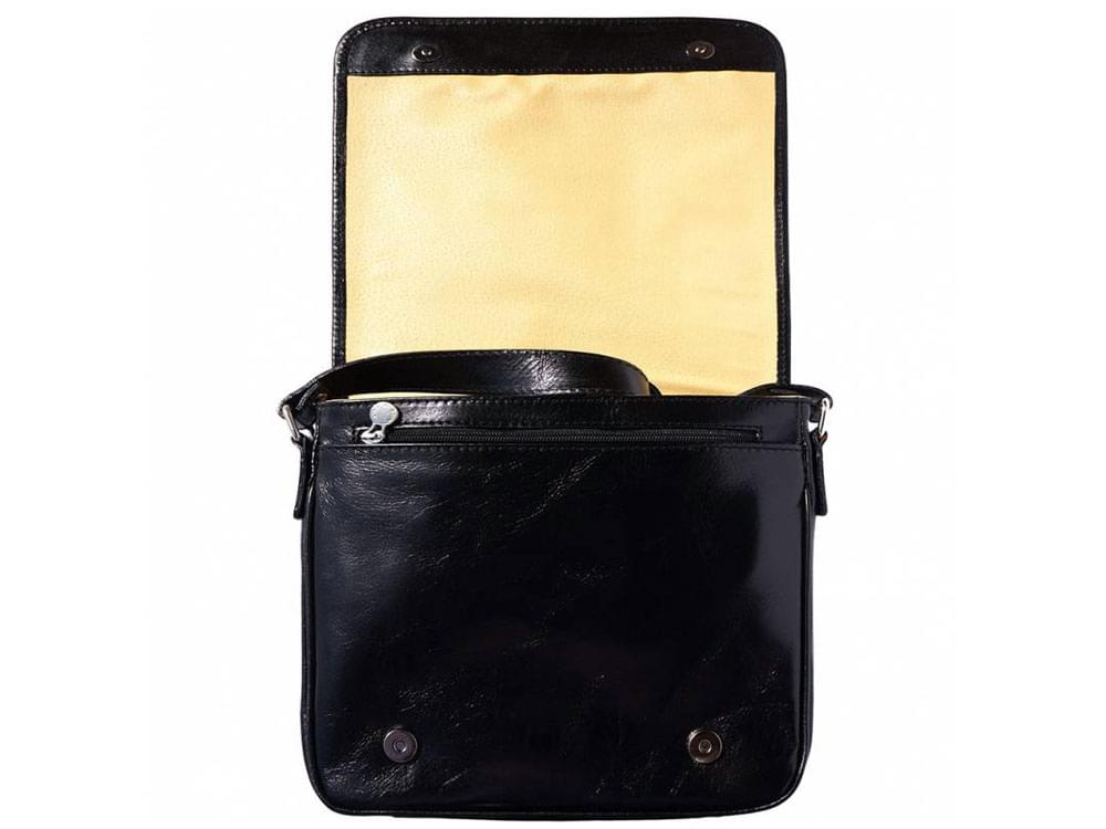 Nerola - Italian leather handmade messenger bag - with the front flap raised