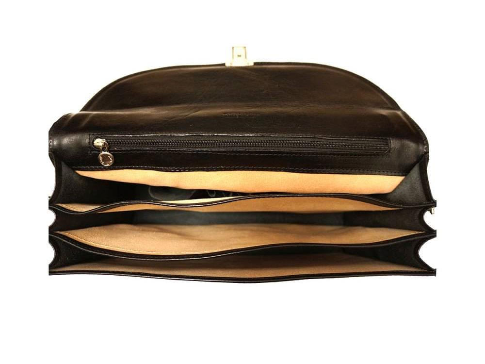 Potenza - rigid calf leather business bag - showing inside