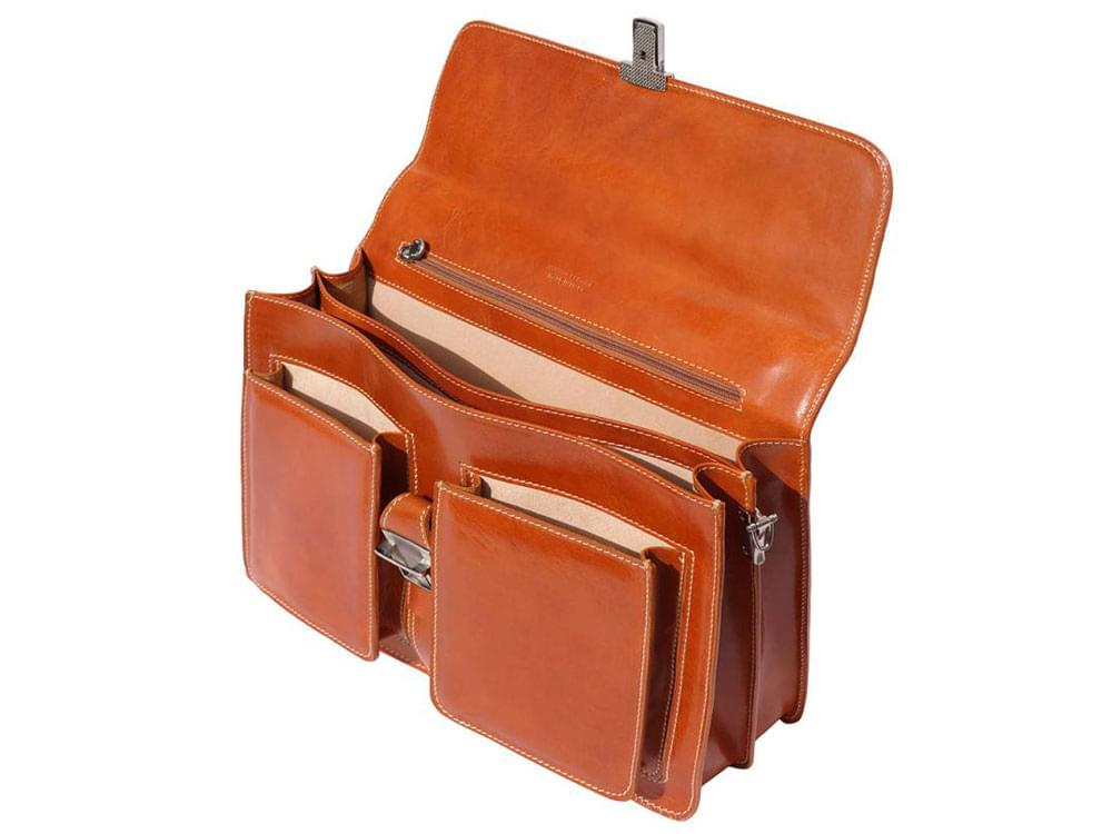Taranto - rigid calf leather business bag - with the front flap raised