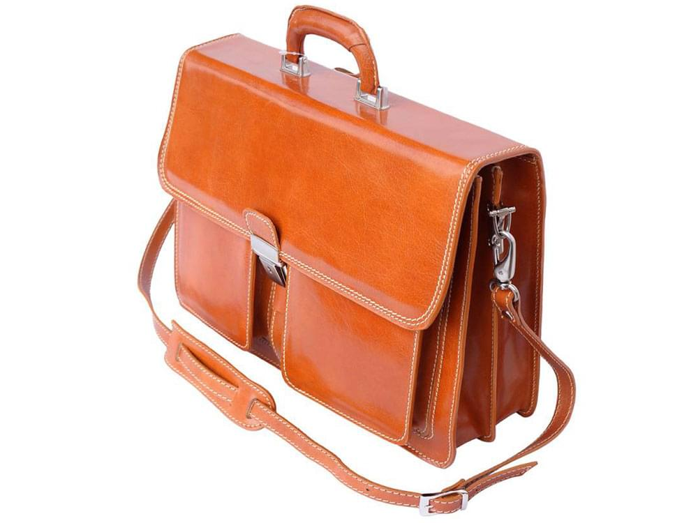 Taranto - rigid calf leather business bag - side view with the detachable shoulder strap