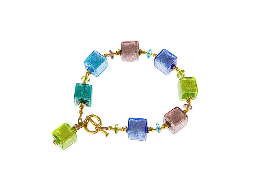 Fiorella - bracelet with Murano glass cubes in pretty spring colours