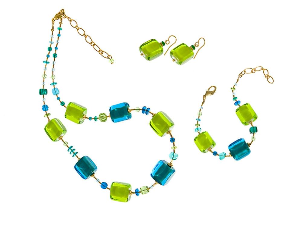 Acquerello Set - necklace, bracelet and earrings with large, blue and green Murano glass squares
