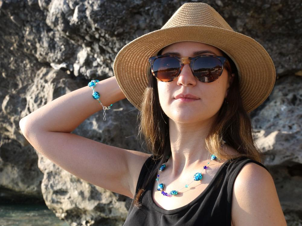 Messina Set - the Messina necklace and bracelet on our model