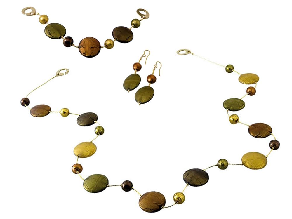 Solare Set with long necklace - Murano glass beads with satin effect