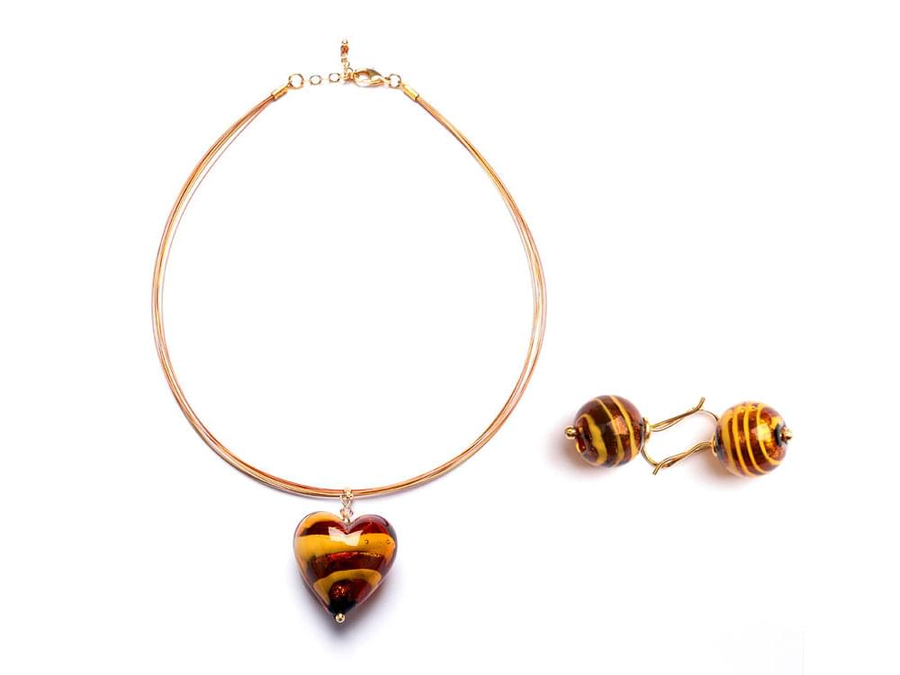 Cuore di Tigre Set - large Murano glass heart with tiger pattern and matching earrings