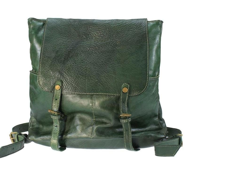 arge, soft, vintage leather backpack - front view