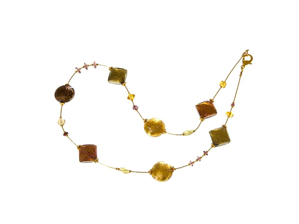 Ruggine - a short necklace with autumnal coloured Murano glass beads