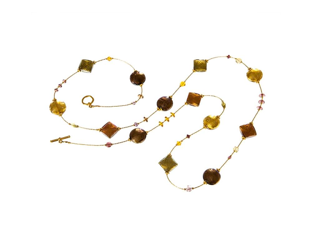 Ruggine - long necklace with autumnal coloured Murano glass beads
