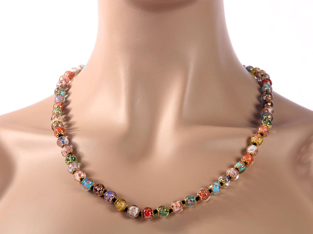 Murano mosaic beads in muted colours