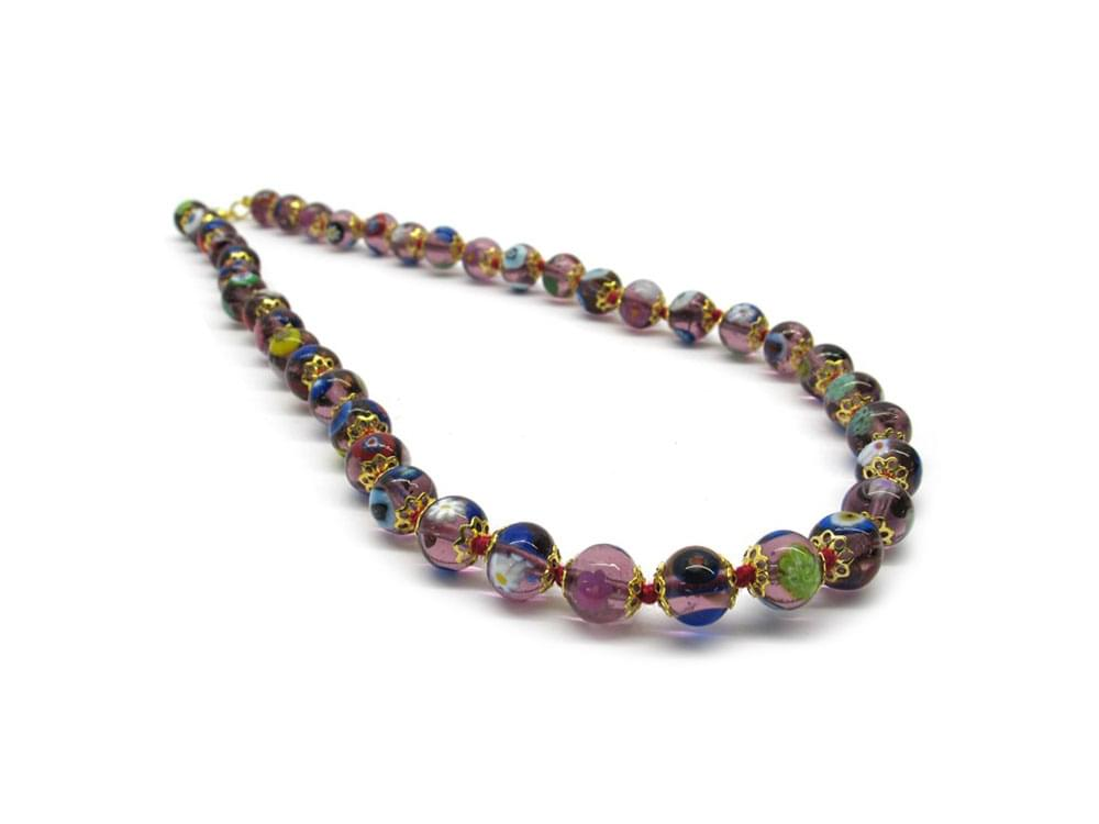 Murano mosaic beads in shades of amethyst